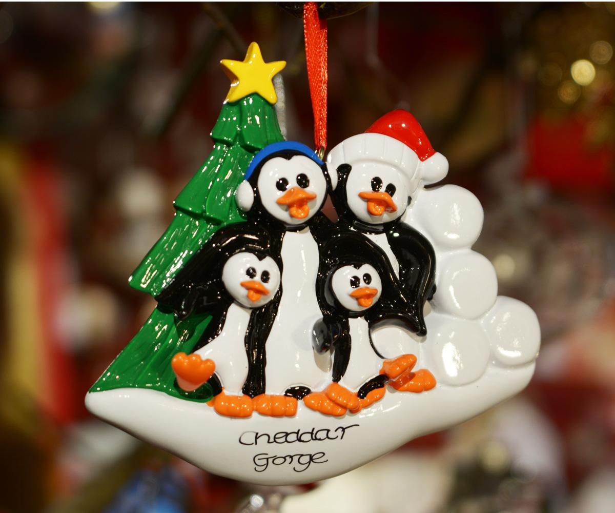 Cheddar Gorge 4 Penguins Hanging Decoration