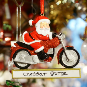 Cheddar Gorge Santa on a Motorcycle Hanging Decoration