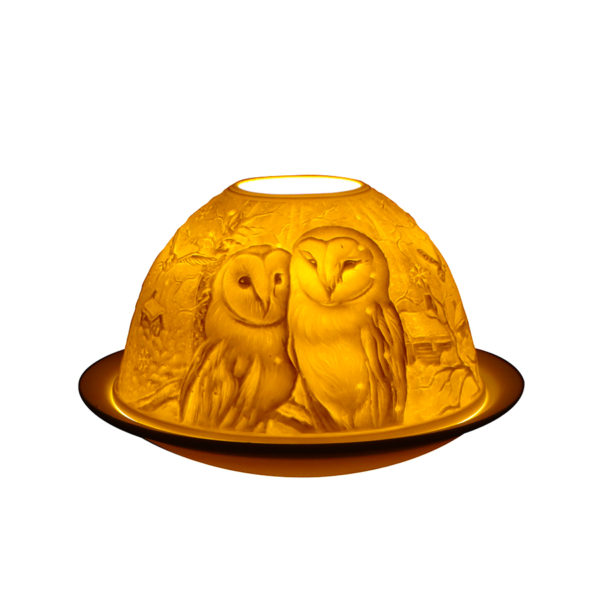 Light-Glow Barn Owls Tealight Candle Holder