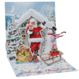 Santa and Snowman Pop Up Greeting Card