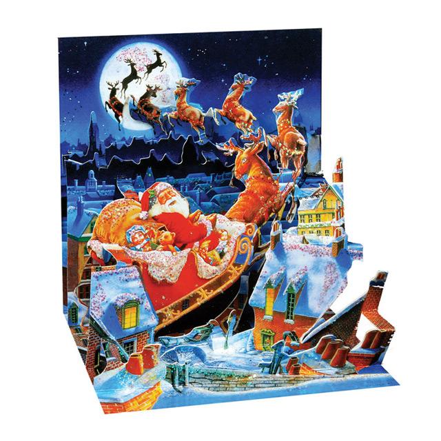 Santa's Sleigh Ride Pop Up Greeting Card
