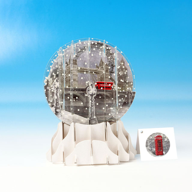 London in the Snow Pop Up Snow Globe Greeting Card