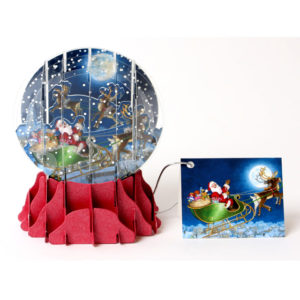 Moonlight Sleigh Ride Pop Up Snow Globe Greeting Card