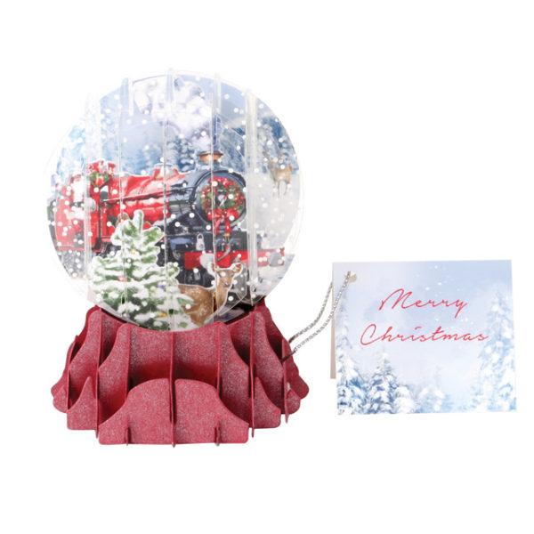 Santa's Express Pop Up Snow Globe Greeting Card