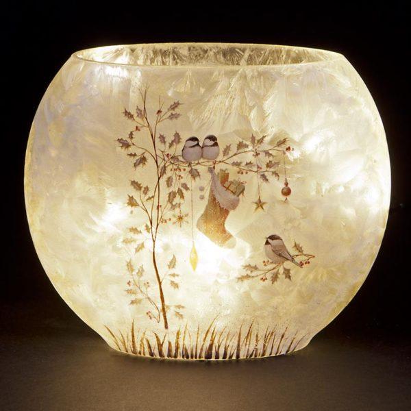 light up vase birds with stocking scene