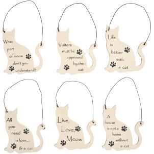 Mini cat shaped hanging sign