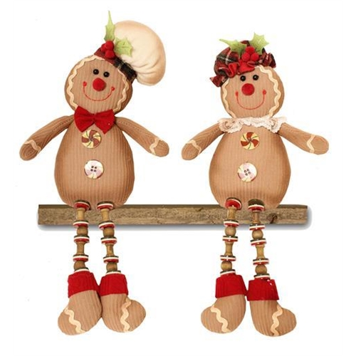 Gingerbread Mr and Mrs button legs