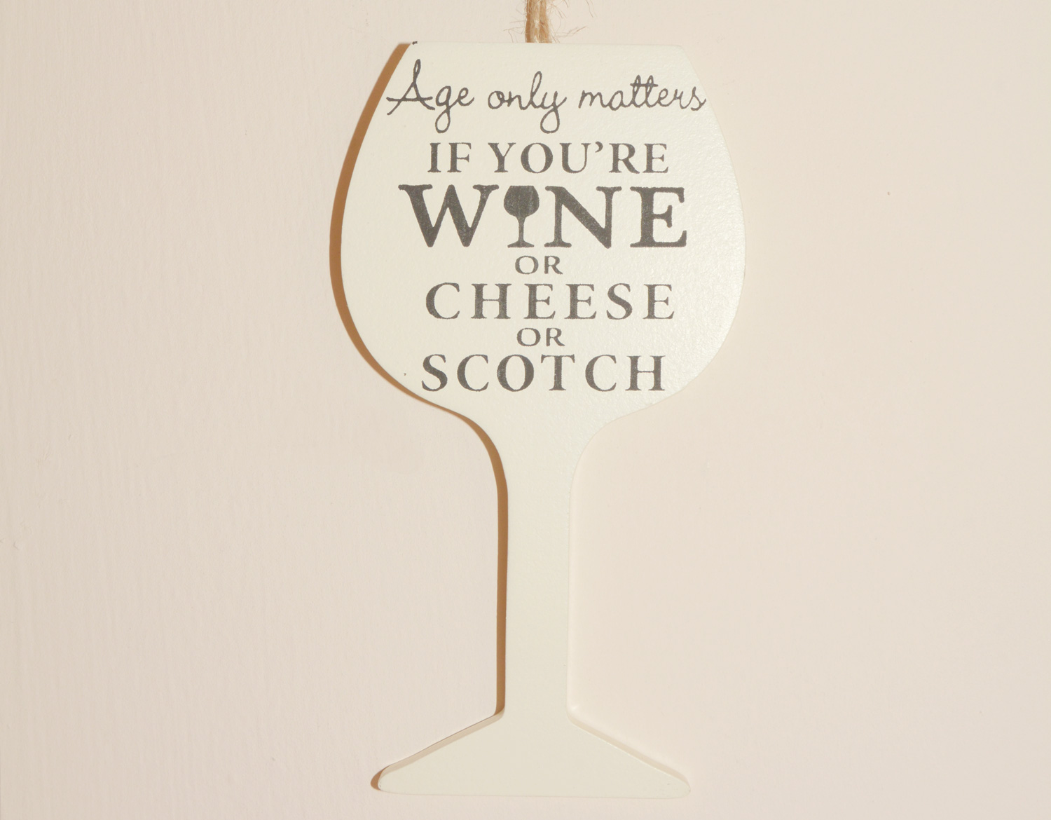 Wine Hanging Sign - Age only matters if you're wine or cheese or scotch