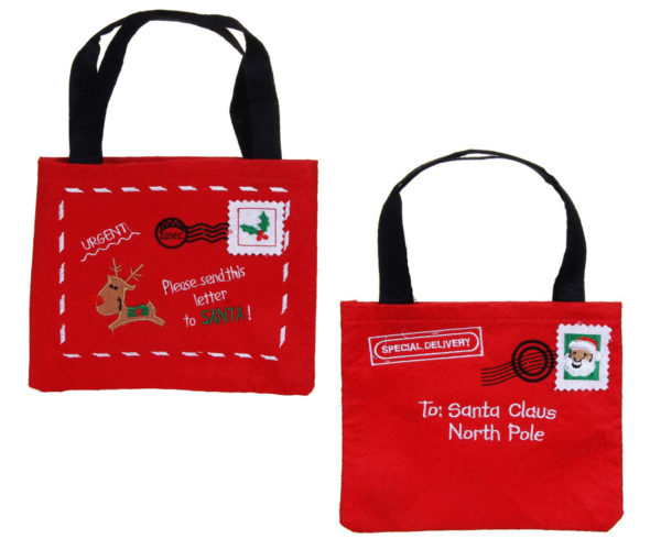 Red felt letter to santa bag