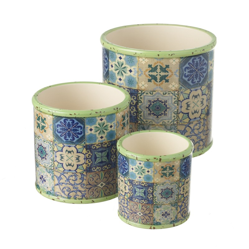Set Of 3 Round Ceramic Pots