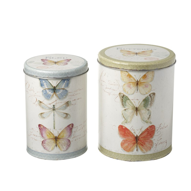 Decorative Butterfly Metal Canisters