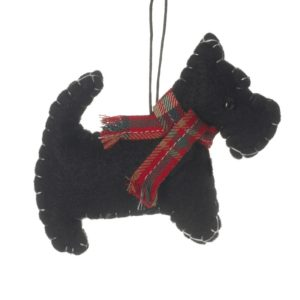 Hanging Scotty Dog With Scarf