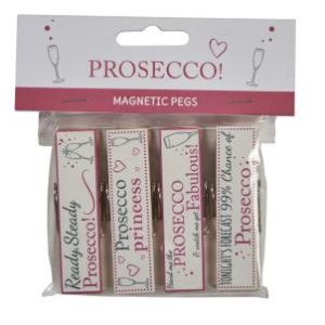 Prosecco saying magnetic pegs - Set of 4
