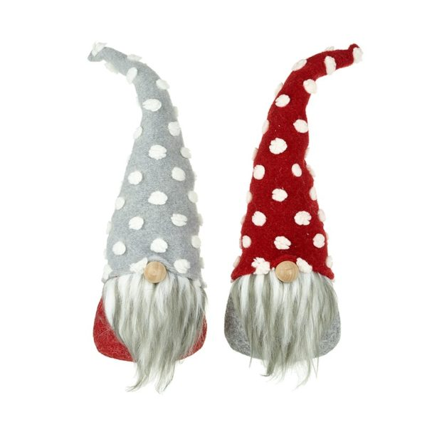 Small Grey & Red Standing Gnomes