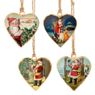 Santa mini metal heart decoration