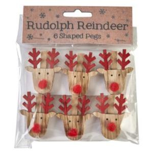 Rudolph Reindeer shaped pegs - Set of 6