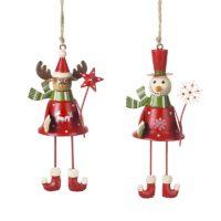 Metal Red Snowman and Deer Hangers
