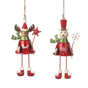 Metal Red Snowman and Deer Hangers