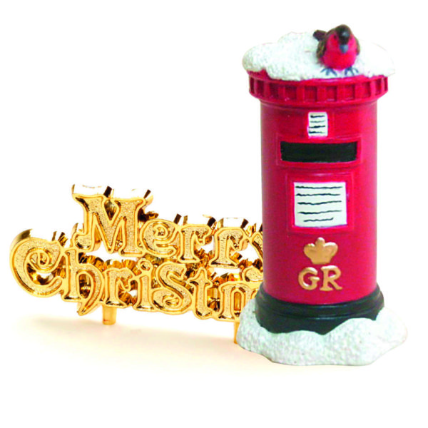 Post Box and Gold Merry Christmas Cake Topper