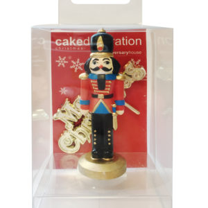Nutcracker and Gold Merry Christmas Cake Topper