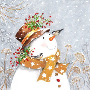 Snowman with Golden Scarf 3-ply napkins