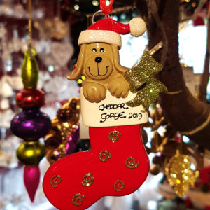 Cheddar Gorge Dog in Stocking Hanging Decoration