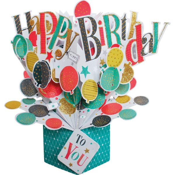 Happy Birthday Balloons 3D Pop Up Card