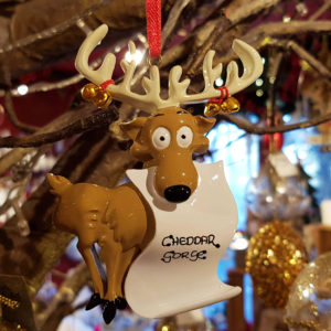 Cheddar Gorge Reindeer Scroll Hanging Decoration