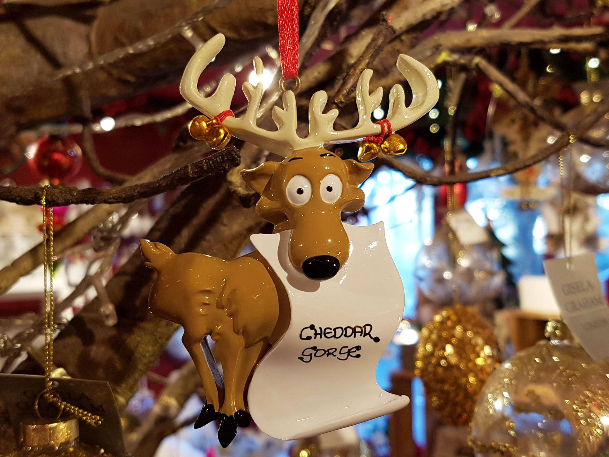 Cheddar Gorge Reindeer Scroll Hanging Decoration