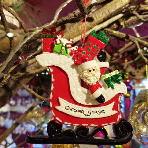 Cheddar Gorge Santa Gift Sleigh Hanging Decoration