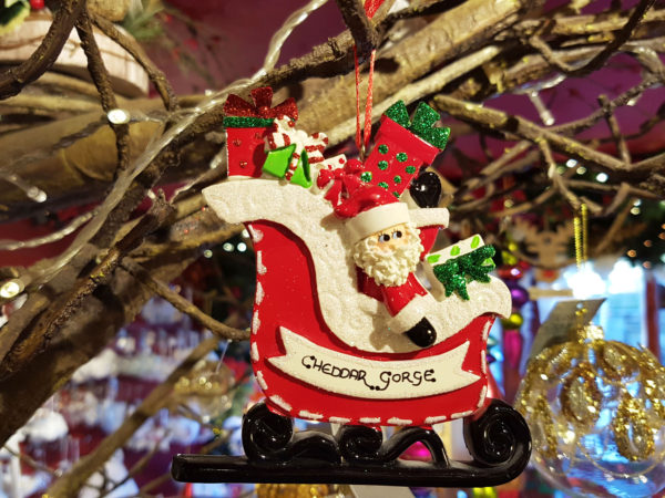Cheddar Gorge Santa Gift Sleigh Hanging Decoration