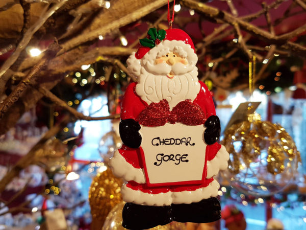 Cheddar Gorge Santa with Gift Hanging Decoration