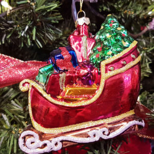Santas Sleigh with Presents Hanging Decoration