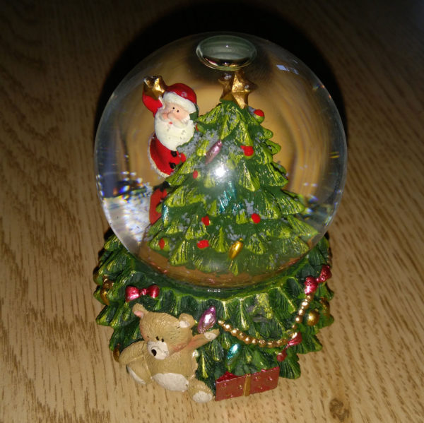Snow Globe - Colour Changing LED Santa with Tree - 6cm Globe