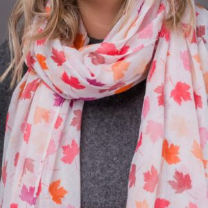 Sycamore leaf design print scarf finished with a rolled edge