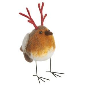 Felt robin with antlers