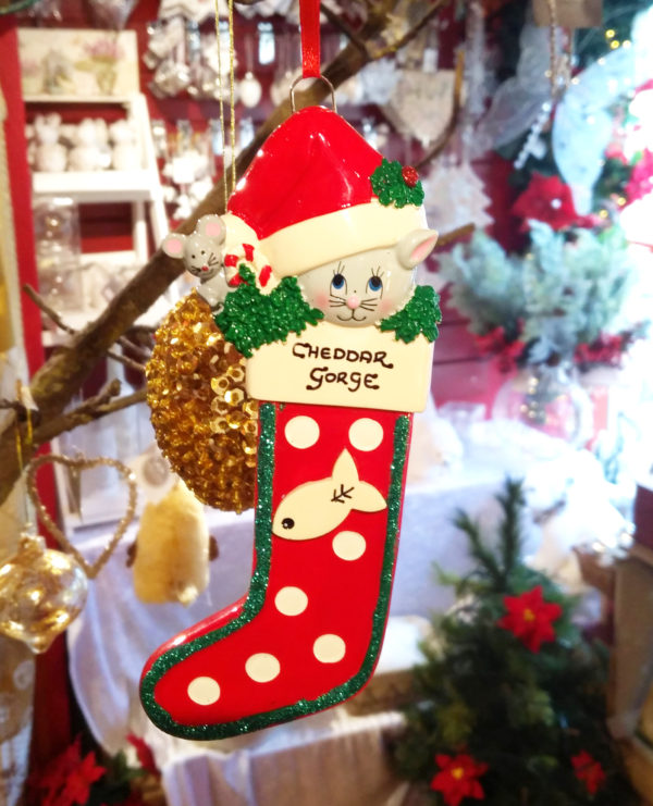 Cheddar Gorge Cat Christmas Stocking Hanging Decoration