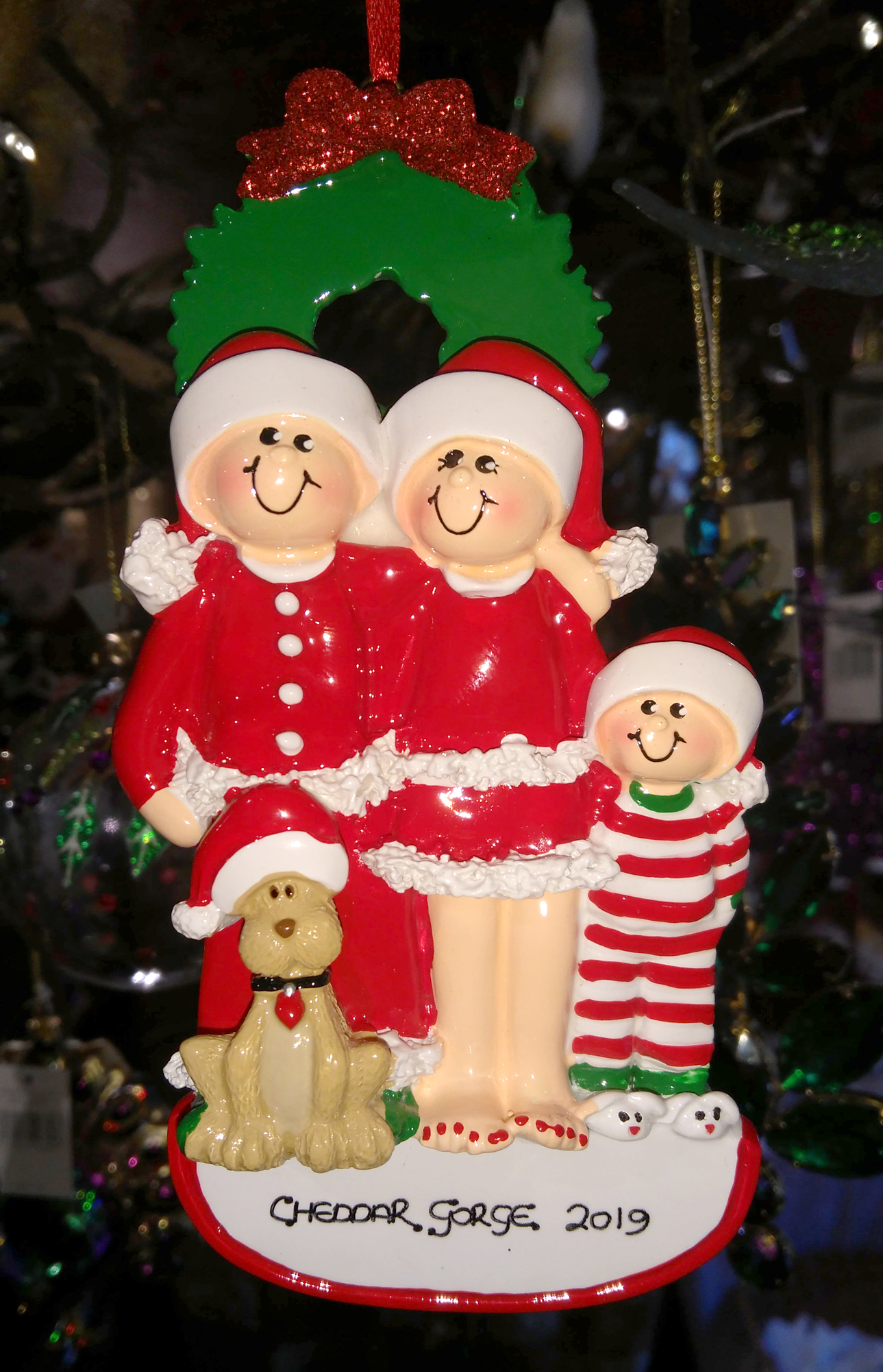 Cheddar Gorge Family of 3 with Dog - Hanging Decoration