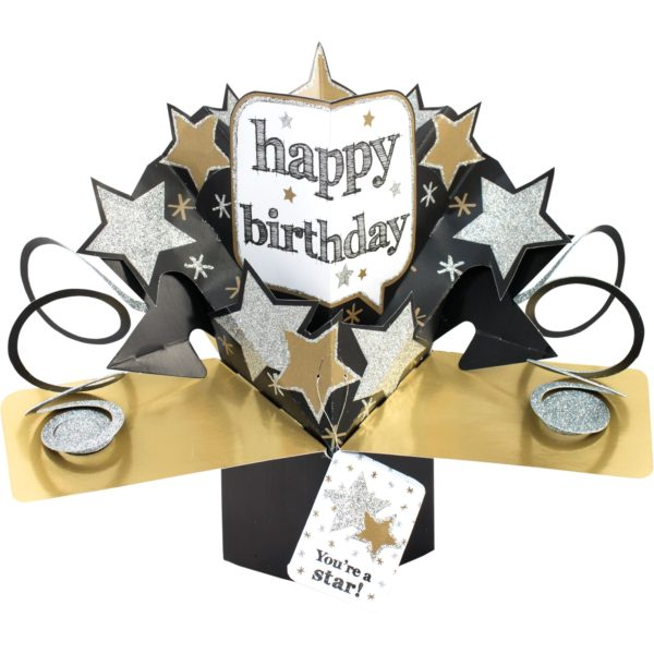 3D POP UP CARD HAPPY BIRTHDAY STARS