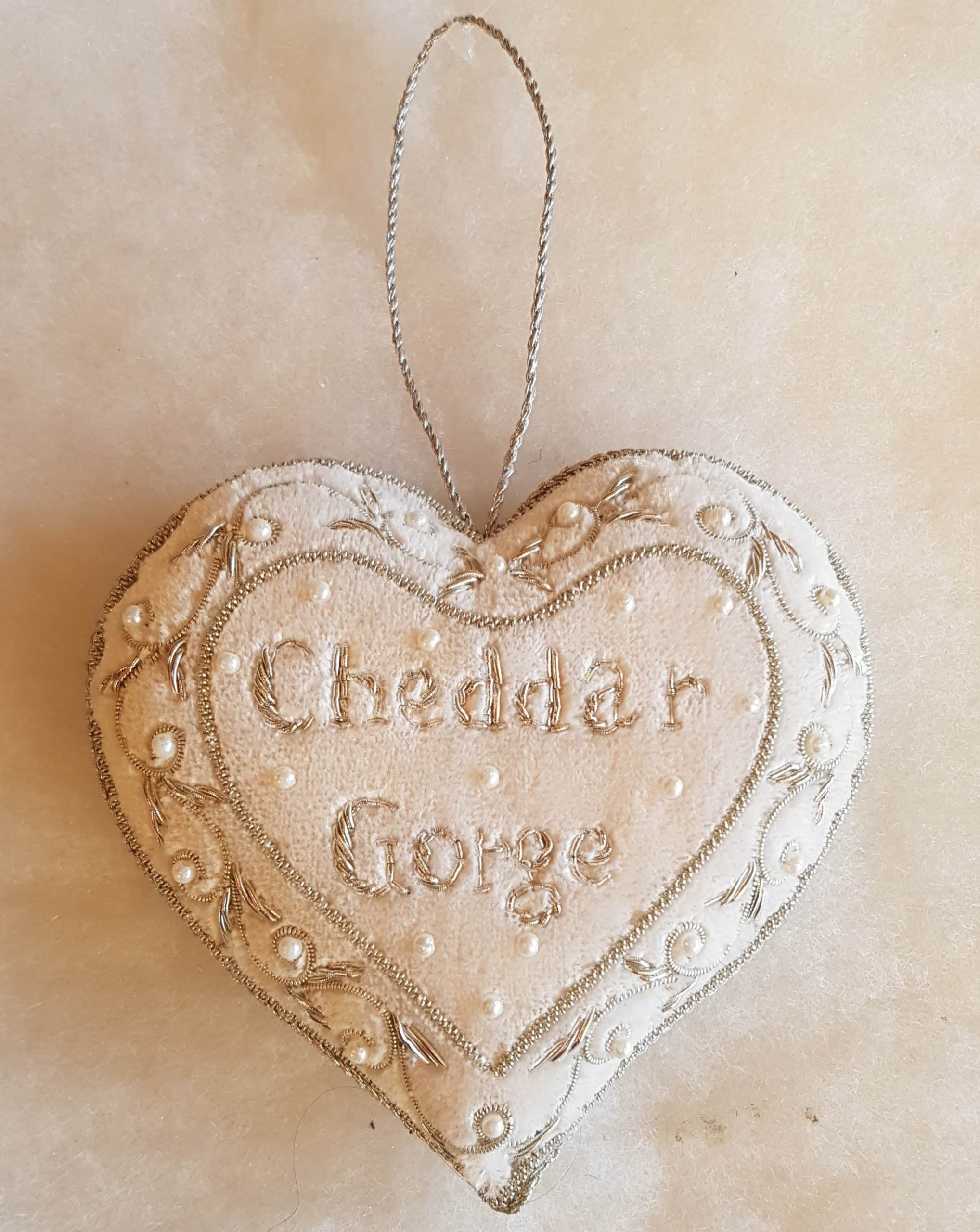 Cheddar Gorge beaded heart