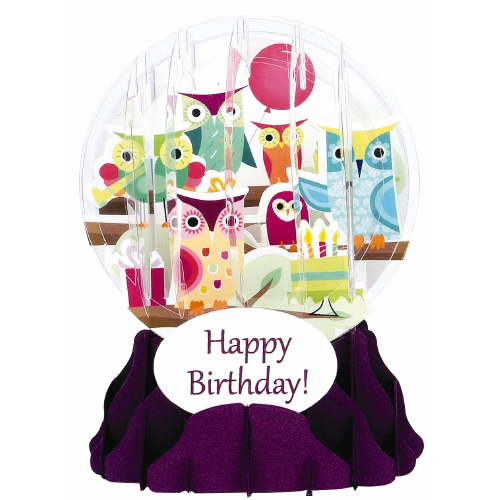 Pop-Up Greeting Card Snow Globe Birthday Owls