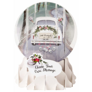 Pop-Up Greeting Card Snow Globe Wedding Car