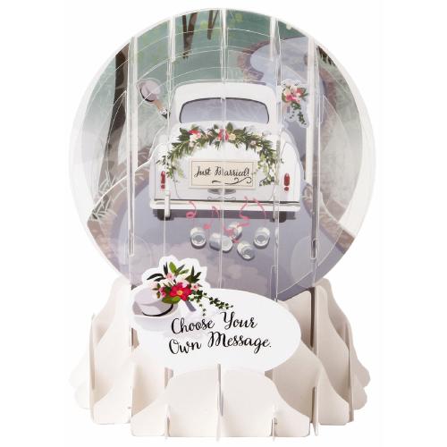 Pop-Up Greeting Card Snow Globe Wedding Car