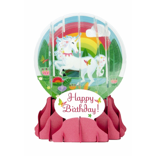 Pop-Up Greeting Card Snow Globe Birthday Unicorn