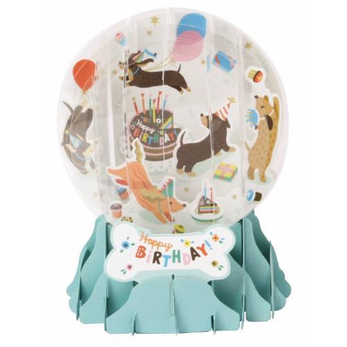 Pop-Up Greeting Card Snow Globe Birthday Dogs