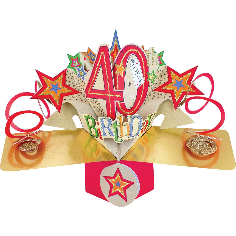 3D Pop Up Card 40th Birthday