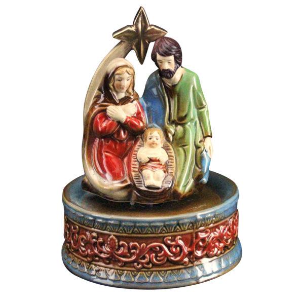 ceramic nativity music box