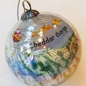 Cheddar Gorge Hand Painted Bauble white