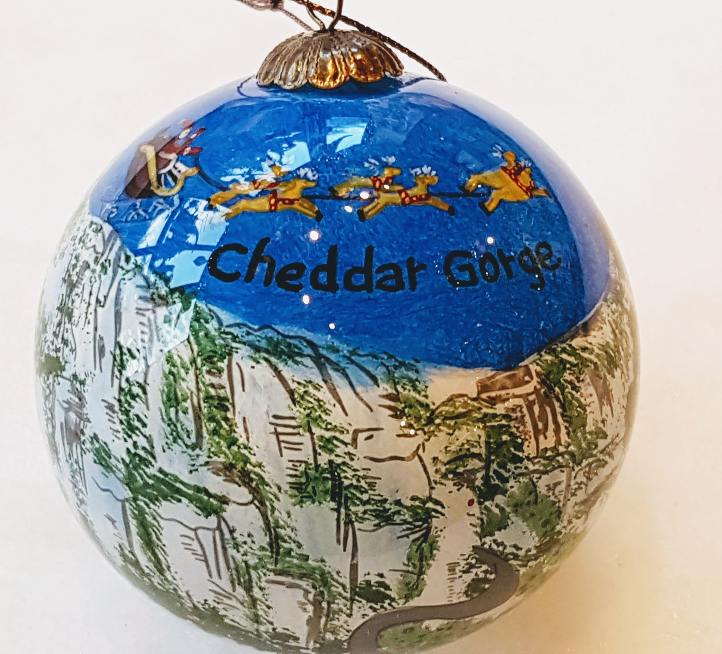 Cheddar Gorge Hand painted bauble blue