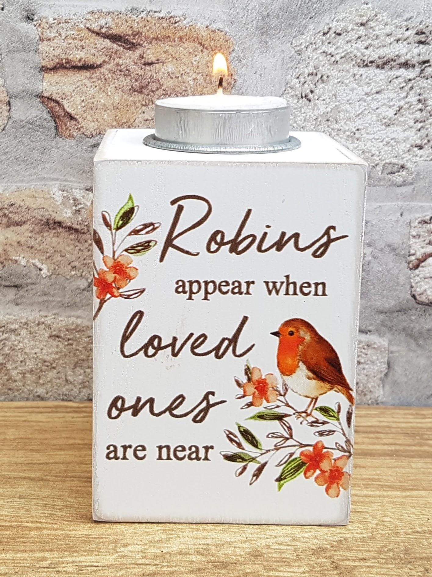 robin tea light holder